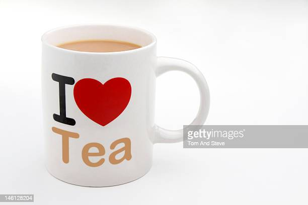 I love Tea on a mug with copy space.