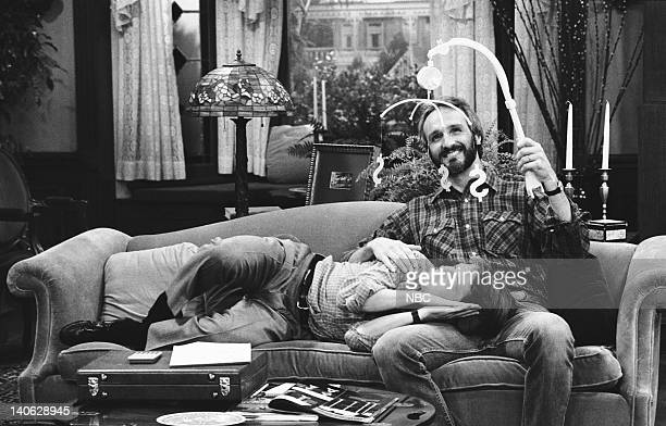 TIES 'Love Thy Neighbor' Episode 3 Aired 10/11/84 Pictured Michael J Fox as Alex P Keaton Michael Gross as Steven Keaton Photo by NBCU Photo Bank