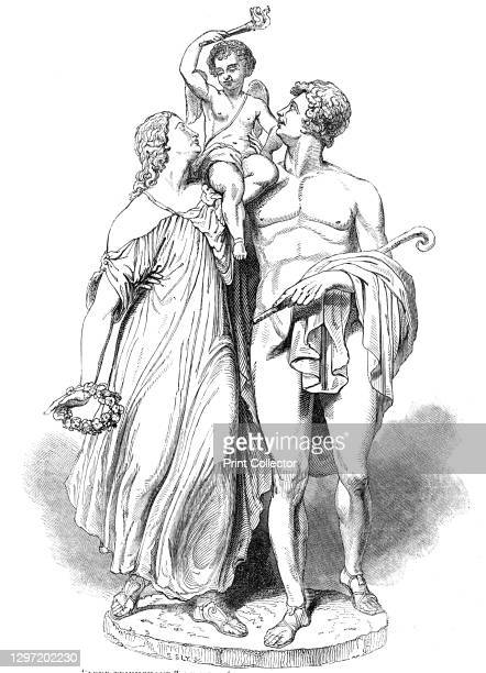 Love Triumphant, by Mr McDowell, A, at the Exhibition of the Royal Academy, 1844. Sculpture by Patrick Macdowell on display in London. From...