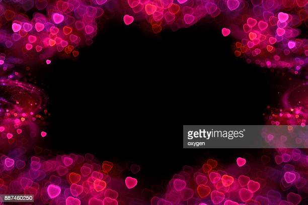 Love valentine's background with hearts boheh
