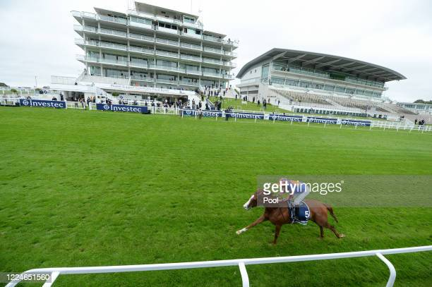 Love win the Investec Oaks by 9 lengths at Epsom Racecourse on July 04, 2020 in Epsom, England. The famous race meeting will be held behind closed...