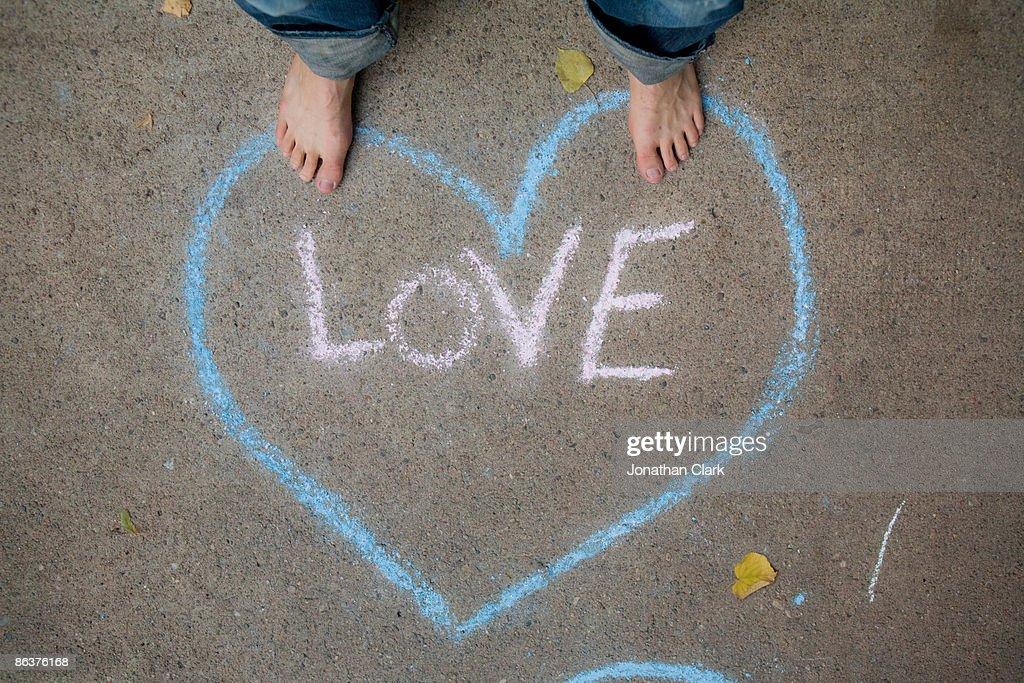 Love written in chalk : Stock Photo
