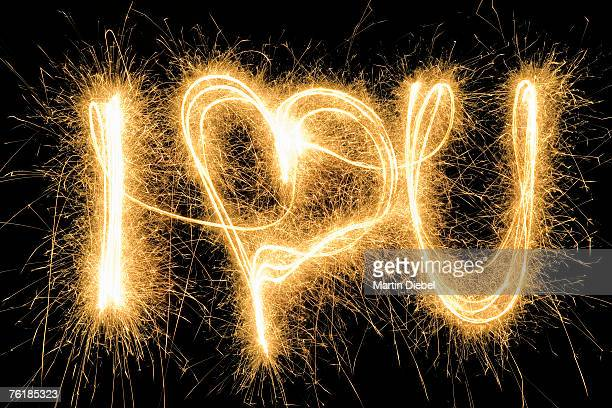 I Love You' drawn with a sparkler