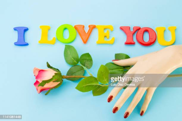 i love you in english language ( plastic magnetic letters ) - i love you frase em inglês - fotografias e filmes do acervo