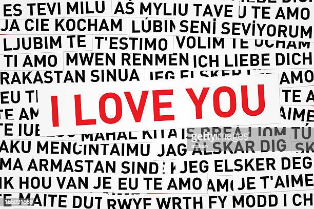 I love you in red print and different languages
