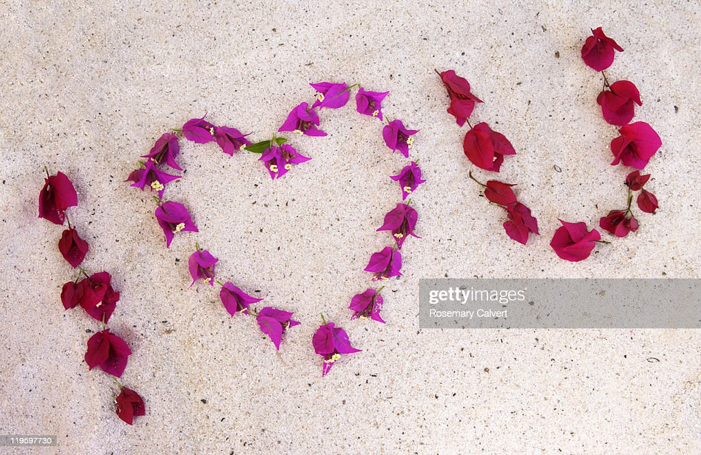 i love you in symbols created with bougainvillea stock photo | getty
