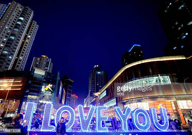 'I Love You' is formed by one thousand Pepsi soda cans at Dongzhong Street on February 12 2012 in Shenyang Liaoning Province of China Preparations...