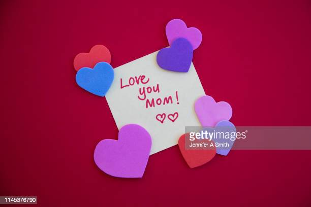 love you mom! - mothers day card stock pictures, royalty-free photos & images