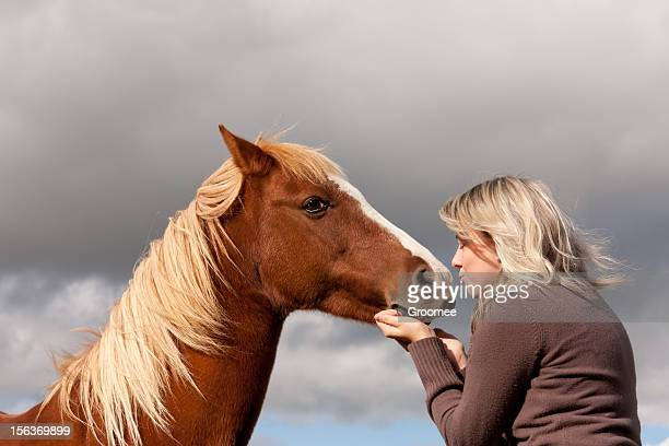 love you sweetie-girl reaches to kiss her ponies nose - girl blowing horse stock pictures, royalty-free photos & images