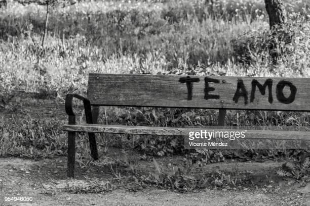 I love you written on a bench