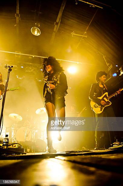 Lovefoxx and Ana Rezende of CSS perform on stage at Heaven on December 7 2011 in London United Kingdom