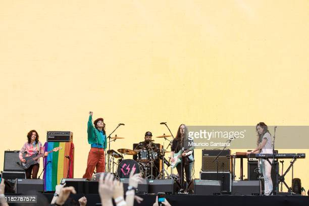 Lovefoxxx, Luiza Sa, Ana Rezende and Carolina Parra of Cansei de Ser Sexy performs live at Popload Festival on stage at Memorial da America Latina on...