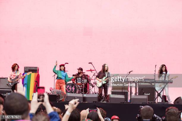 Lovefoxxx Luiza Sa Ana Rezende and Carolina Parra of Cansei de Ser Sexy performs live at Popload Festival on stage at Memorial da America Latina on...