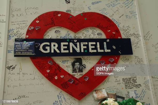A lovehear shaped Grenfell board at the memorial site during the 3rd anniversary of the Grenfell fire Seventytwo people were killed in the blaze that...