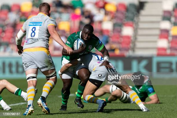 Lovejoy Chawatama of London Irish is tackled by Marcus Watson of Wasps during the Gallagher Premiership match between London Irish and Wasps at the...