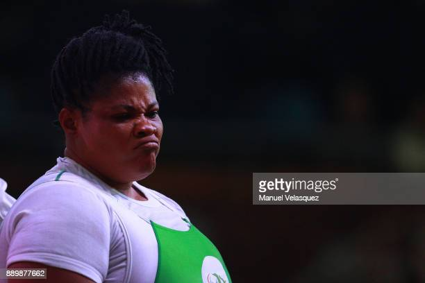 Loveline Obiji of Nigeria gestures during the Women's Over 86Kg Group A Category as part of the World Para Powerlifting Championships Mexico 2017 at...