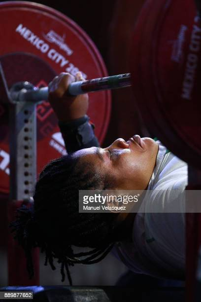 Loveline Obiji of Nigeria looks on during the Women's Over 86Kg Group A Category as part of the World Para Powerlifting Championships Mexico 2017 at...