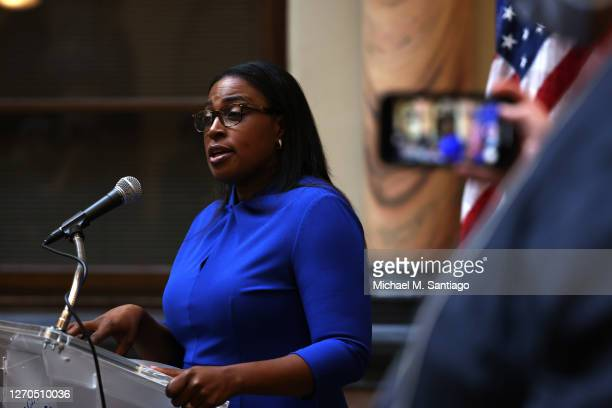 Lovely A. Warren, mayor of Rochester, speaks during a press conference on the death of Daniel Prude on September 03, 2020 in Rochester, New York....