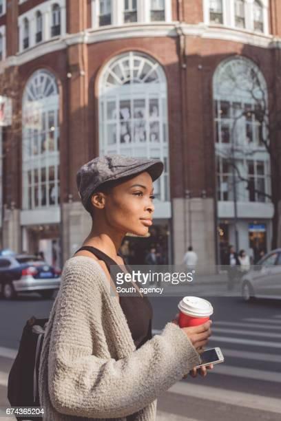 Lovely Afro American girl outdoors