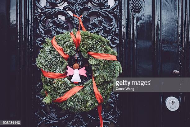 Lovely Christmas wreath on door