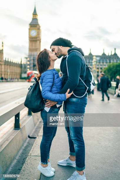 lovely couple in london - moment of silence stock pictures, royalty-free photos & images