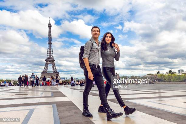 Lovely couple spending some days in vacation to Paris