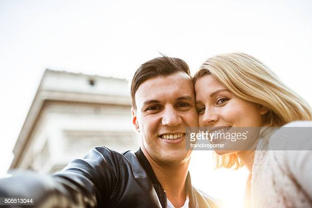 lovely couple take a selfie in Paris