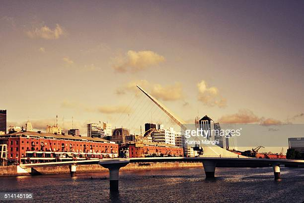 lovely day at puerto madero. - puente de la mujer stock pictures, royalty-free photos & images