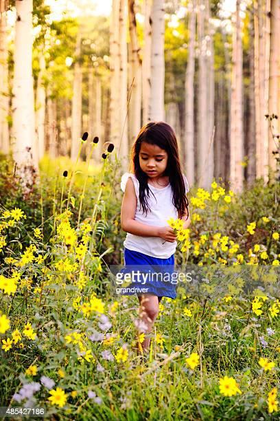 bella ispanica piccolo ragazza raccogliendo fiori nel bosco - mazzi fiori di campo foto e immagini stock
