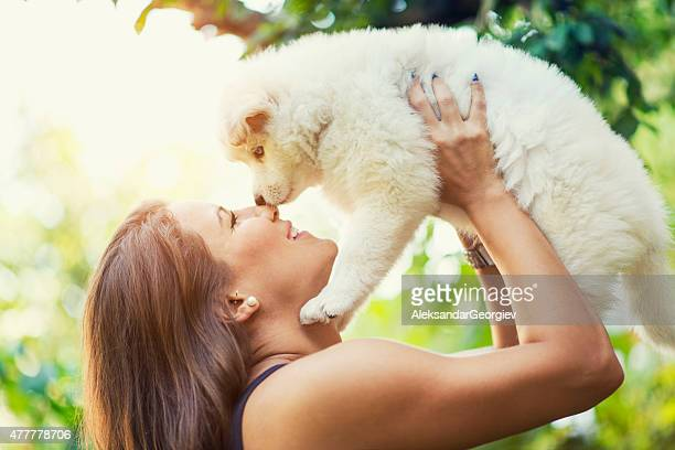 Lovely Husky Baby Puppy how Kiss his Female Owner