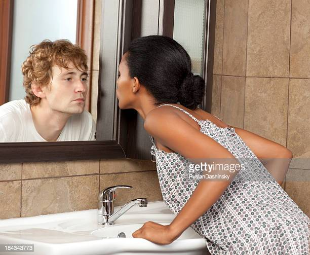 lovely illusion. - black women kissing white men stock pictures, royalty-free photos & images