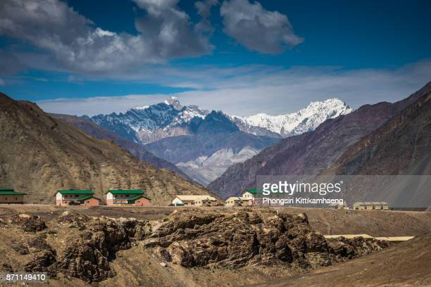 Lovely Landscape view with houses near Magnetic Hill, Ladakh, India