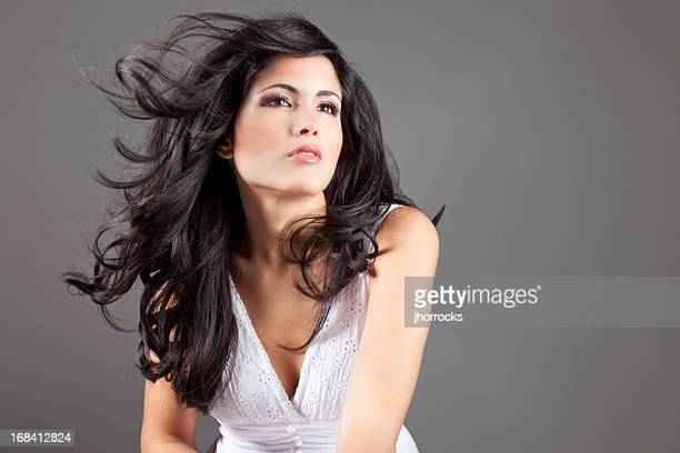Lovely Latin Woman with Wind Blown Hair
