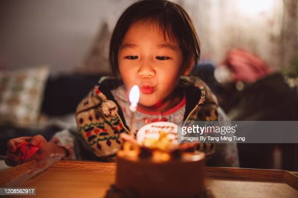 Lovely little girl blowing birthday candle on birthday cake at home