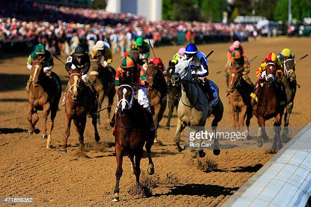 Lovely Maria ridden by Kerwin D Clark leads the field to the finish line to win the 141st running of the Kentucky Oaks at Churchill Downs at...