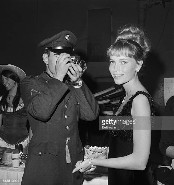 Lovely Mia Farrow, star of TV's Peyton Place series, is shown as she was photographed by PFC Kent Kay, of San Francisco, at the benefit performance...