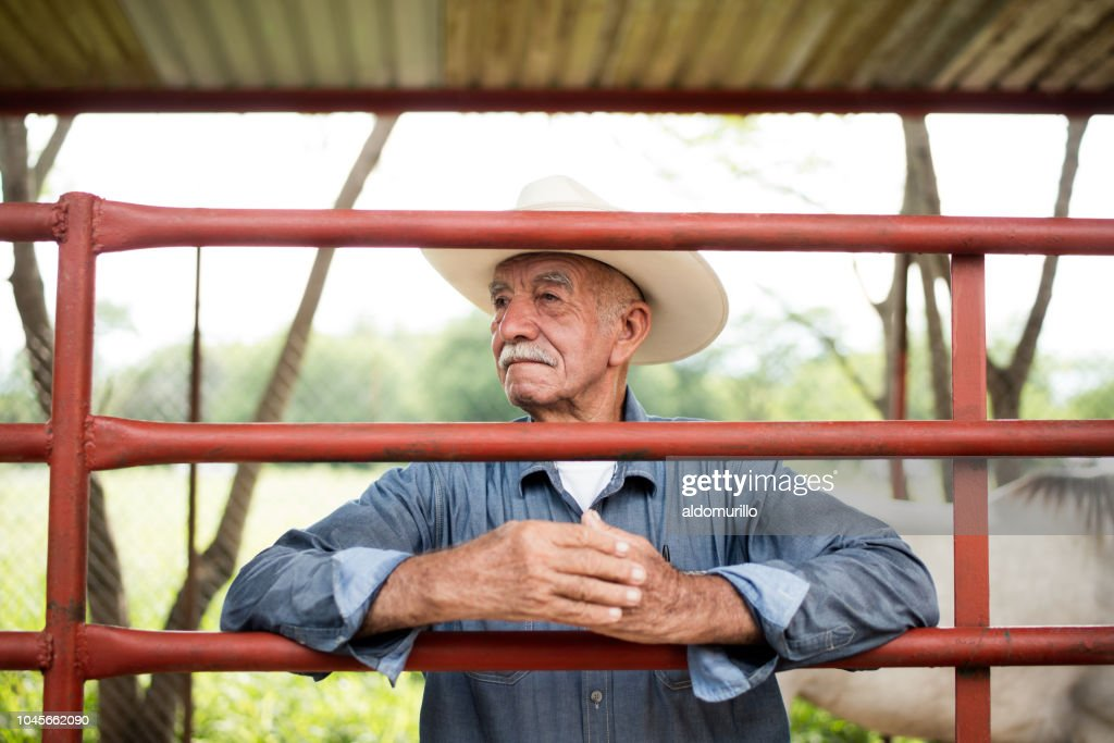 Lovely senior mexican man standing behind horse fence : Stock Photo