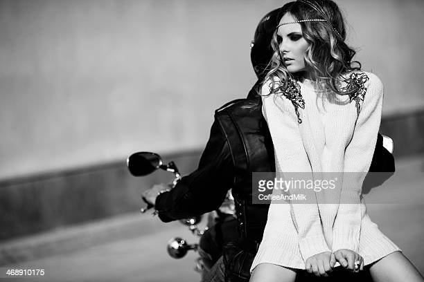 lovely woman on the beach - women black and white motorcycle stock pictures, royalty-free photos & images
