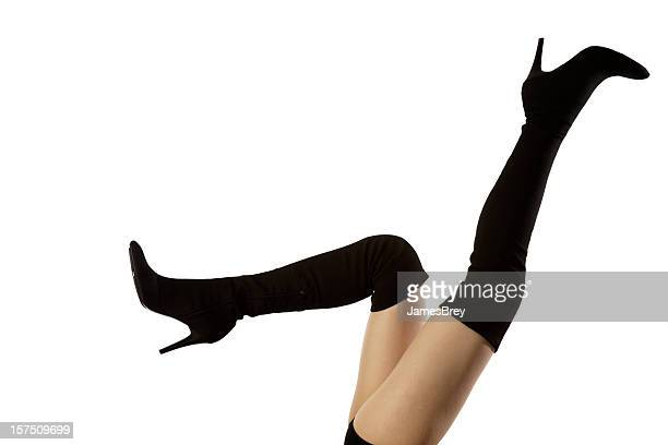 lovely woman's legs with killer black boots - black boot stock pictures, royalty-free photos & images