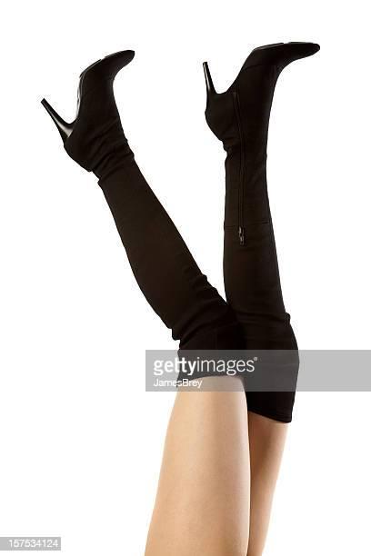 Lovely Woman's Long Legs, Killer Tall Black Spike Heel Boots