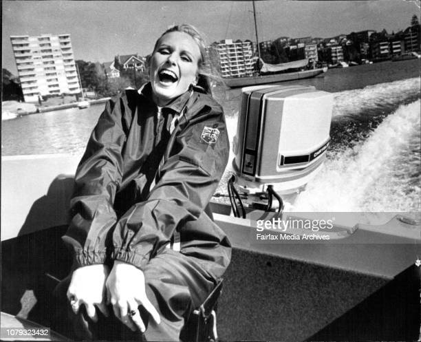 Lovely Yasmin Nagy at sea in the exciting sidewinder speedboat sums up the spirit of the 1973 show boating is fun July 9 1973 Photo by Bob...