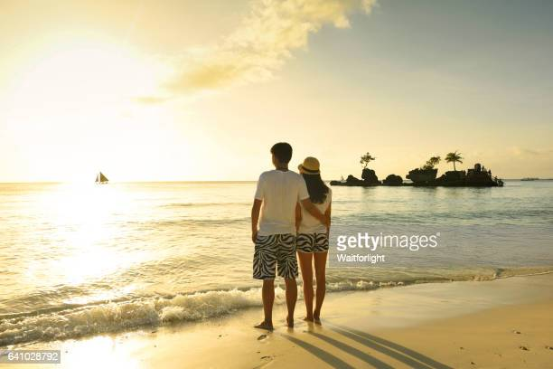 lover at sunset in Boracay,Philippines