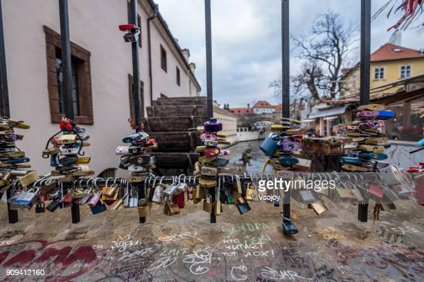 lover locks at lovers bridge, prague, czech republic - vsojoy stock pictures, royalty-free photos & images