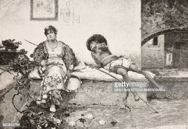 Lovers engraving from a watercolor by Edoardo Dalbono presented at the National exhibition of Fine Arts in Turin drawing by Quintilio Michetti from...