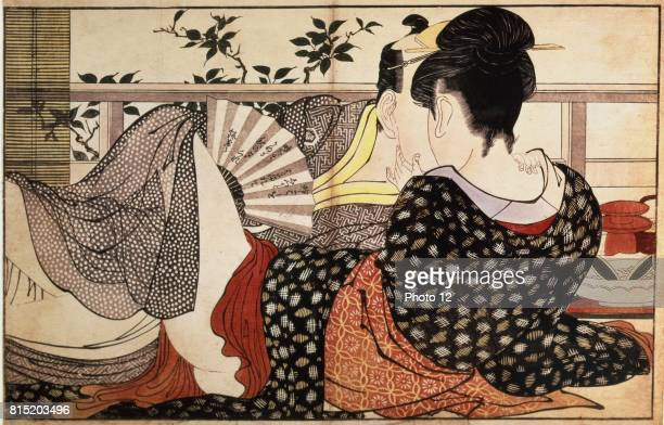 Illustration for 'The Pillow Book' 1788 Coloured woodblock print Kitanga Utamaro Japanese painter and printmaker