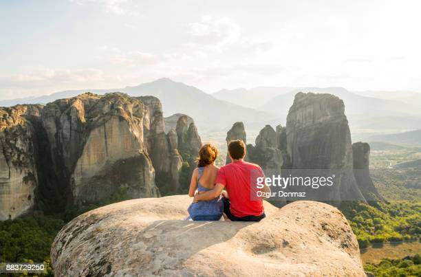 Lovers on the hill Meteora, Greece