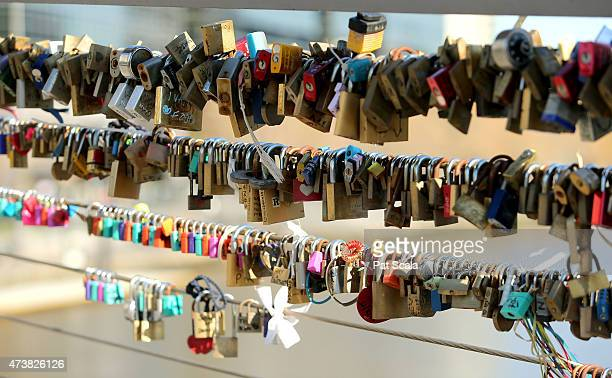 Lovers padlocks are seen fastened to the Southgate footbridge on May 18 2015 in Melbourne Australia Melbourne city council will remove over 20000...