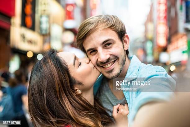 lovers take a selfie in Tokyo