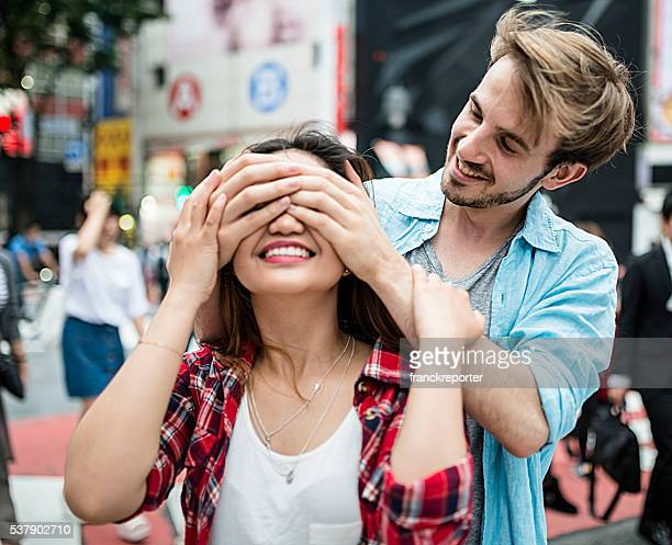 lovers travel together in Tokyo