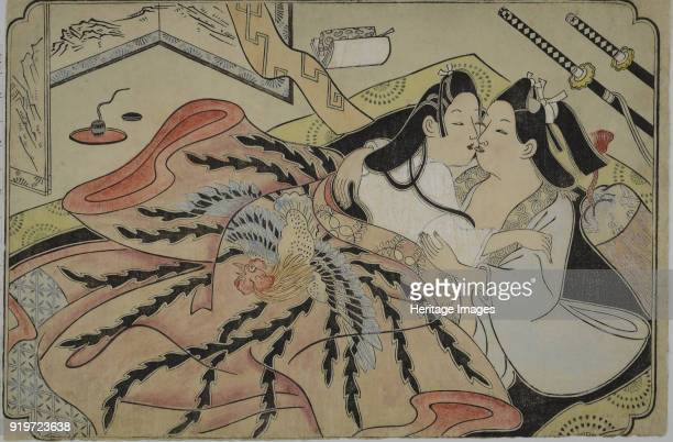 Lovers under a quilt with phoenix design 1680s Private Collection